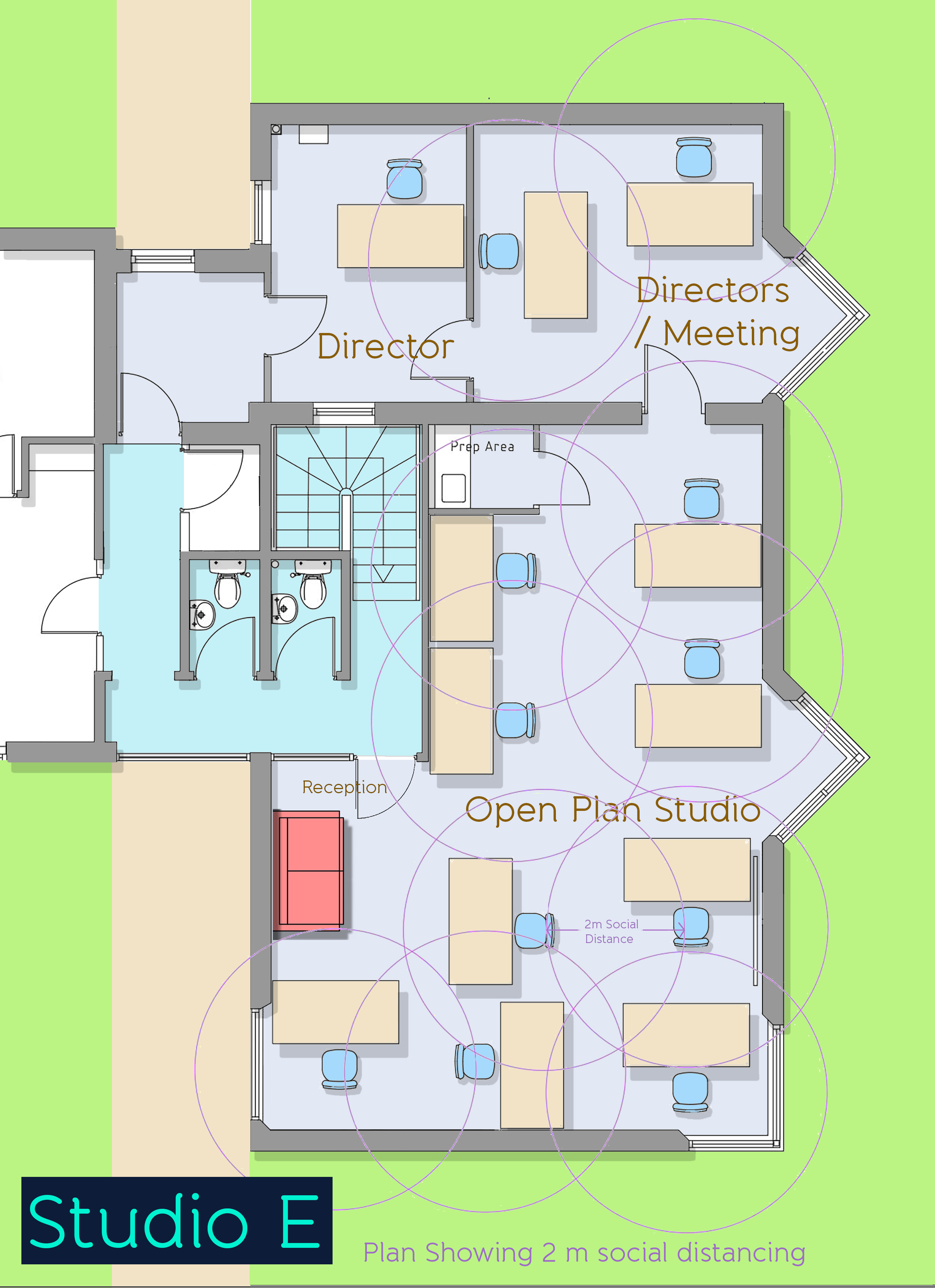 Plan of office to let showing social distancing at Fenham Hall Studios